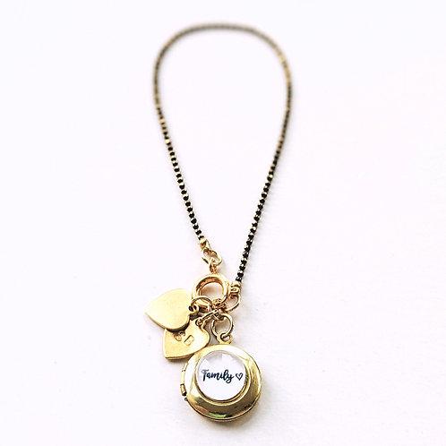"PERSONALIZABLE ""FAMILY"" LOCKET CHARM BRACELET/NECKLACE - HANDSTAMPED"