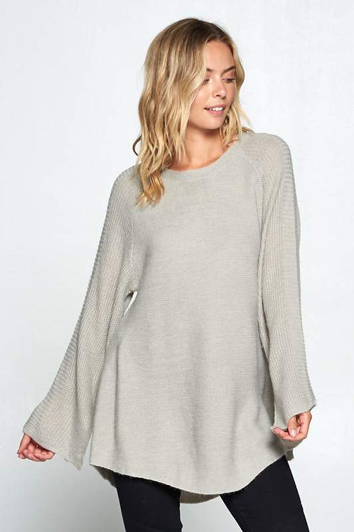 SOLID TUNIC SWEATER  WITH SLIT BELL SLEEVES