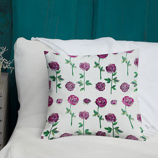Maroon Roses on White Premium Pillow