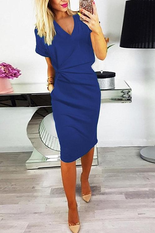 Blue V Neck Short Sleeve Pleat Midi Office Dress