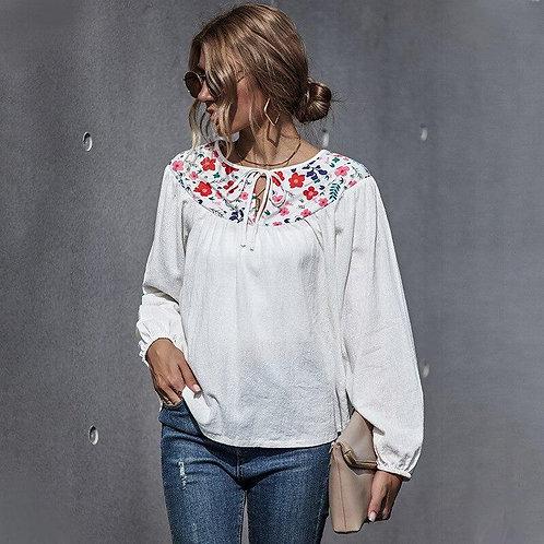 Cotton Linen Women Embroidery Floral Slim Blouse