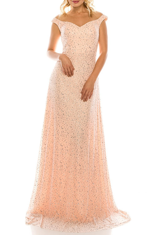 Odrella Salmon Glittery Mesh Illusion Portrait Neckline Evening Dress