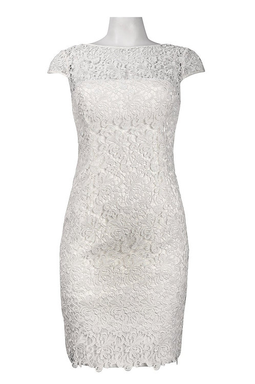 Adrianna Papell Cap Sleeve Keyhole Back Scalloped Crochet Lace Dress
