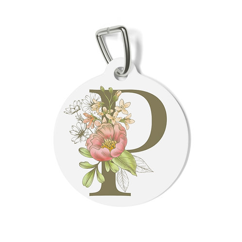 Personalized Floral Pet Tag - P