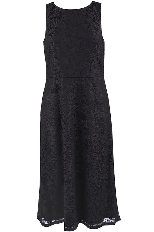 Nine West Lace Sleeveless Jewel Neckline A-Line Midi Dress