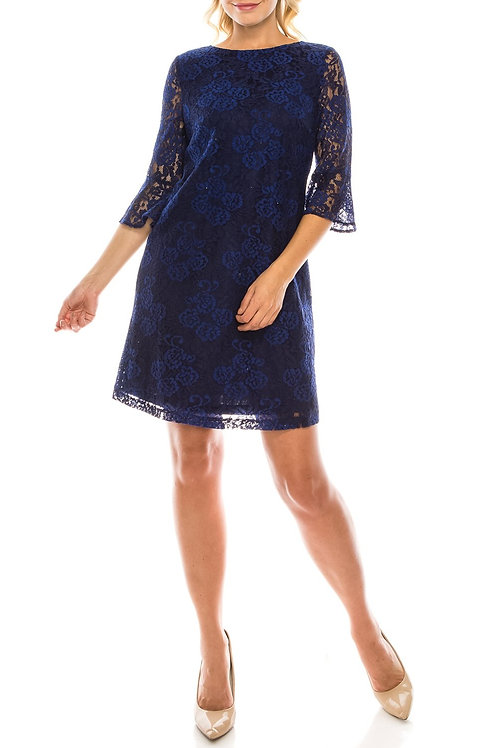Jessica Howard Navy Two-Tone Floral Lace Sheath Dress with Bell