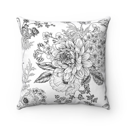 Garden Sketches Spun Polyester Square Pillow