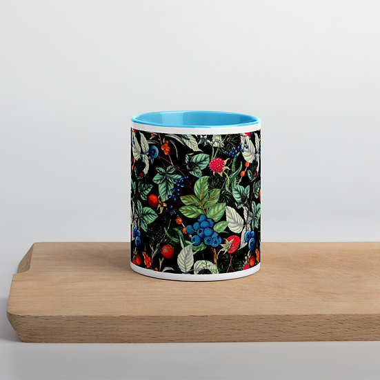 Berries on Black Mug with Color Inside