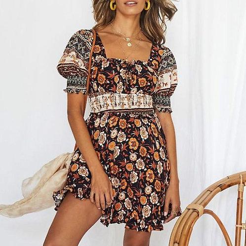 Boho Cotton Dress Women Summer Puff Sleeve Mini Dress