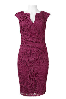 Adrianna Papell Day Split V-Neck Cap Sleeve Pleated Waist Floral Lace