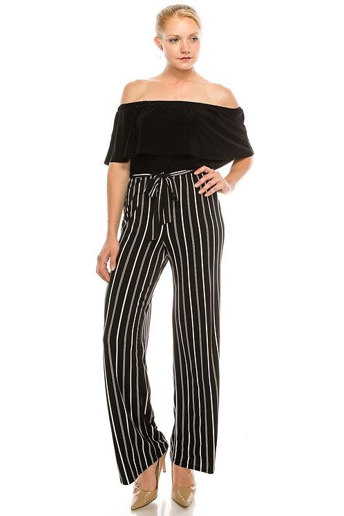 BeBe Black and Ivory Off The Shoulder Striped Jumpsuit