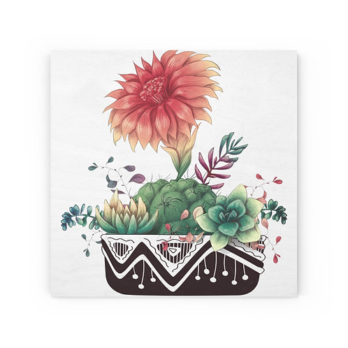 Desert Potted Plant Wood Canvas