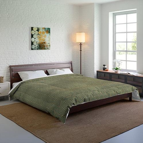 Gold Art Deco Greek/Teal Blue Style Comforter