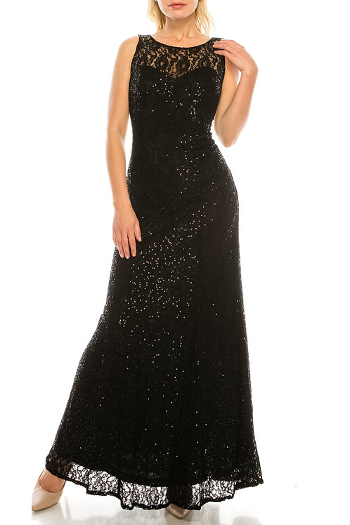 Ignite Evenings Black Sequined Lace Long Evening Gown