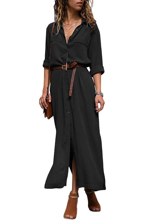 Casual Black Slit Maxi Shirt Dress with Sash