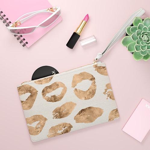 Golden Lipstick Clutch Bag