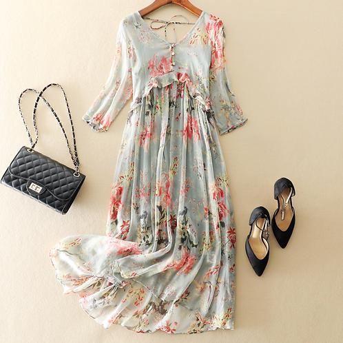 Pure Silk Printed Tassel Midi Dress
