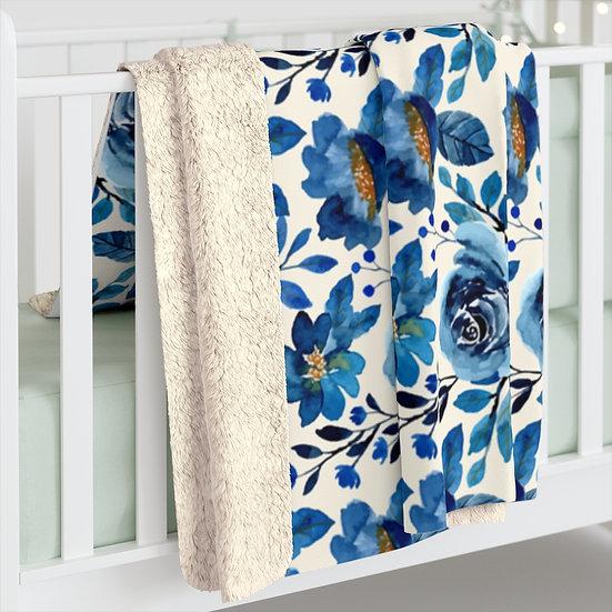 Blue Roses Sherpa Fleece Blanket