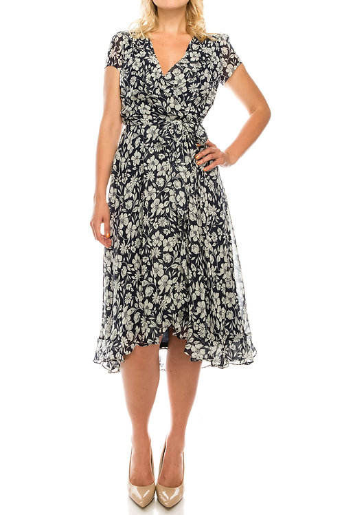 Gabby Skye Floral Printed Chiffon High Low Dress