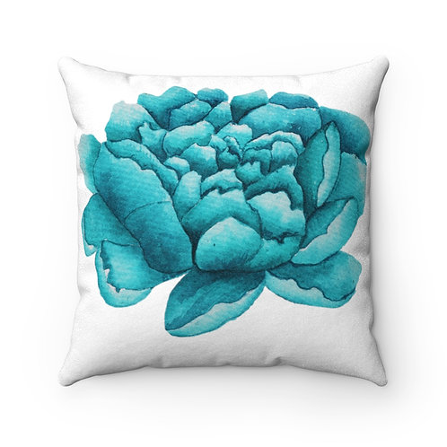 Abstract Teal Flower Faux Suede Square Pillow