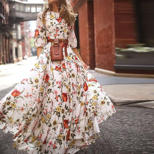 Summer Long Sleeve Bohemian Beach Dress