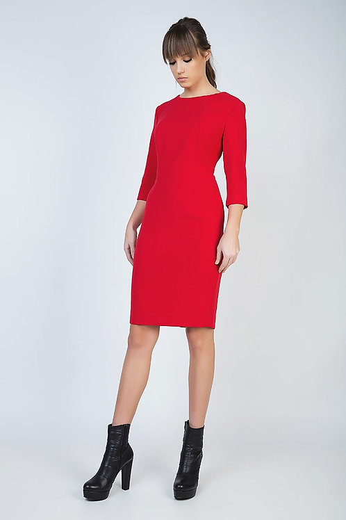 Fitted Red Dress in Crepe Fabric