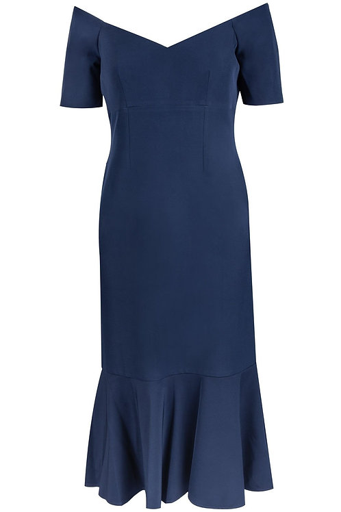 Maggy London Short Sleeve Off-The-Shoulder Flounce Hem Sheath Midi