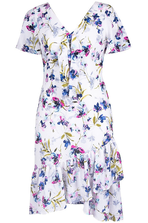 Maggy London Blossom Print Short Sleeve V-Neck A-Line Dress