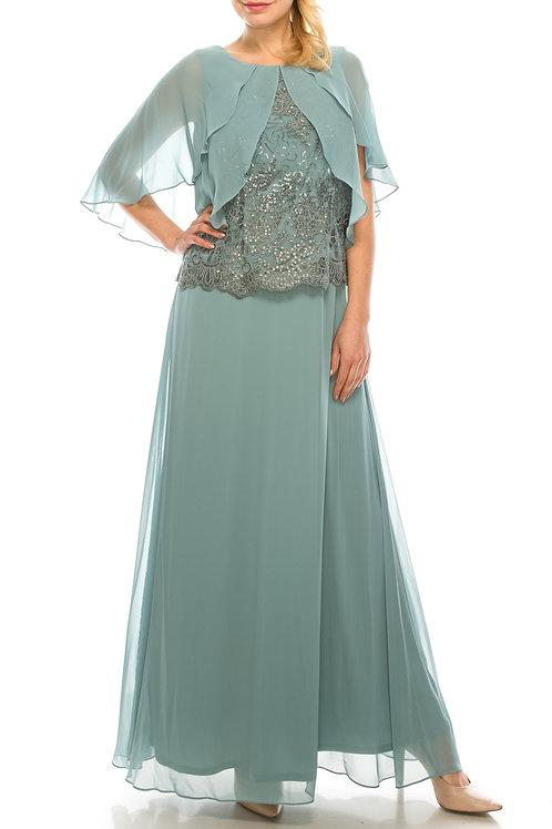 Le Bos Cool Sage Mesh & Chiffon Long Evening Cape Dress