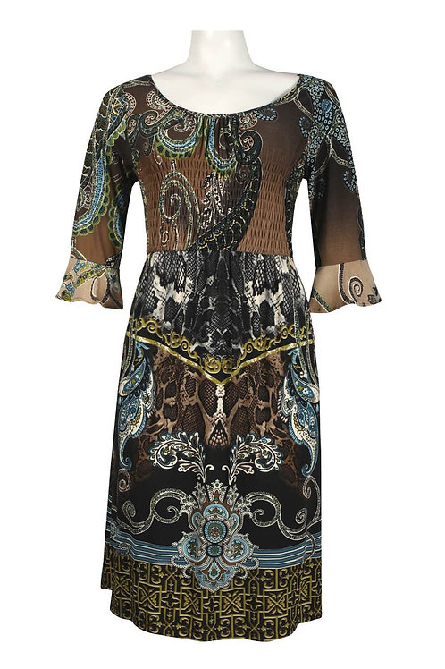 Bell Sleeve Elastic Bodice Batik Print Jersey Dress. By Signature by