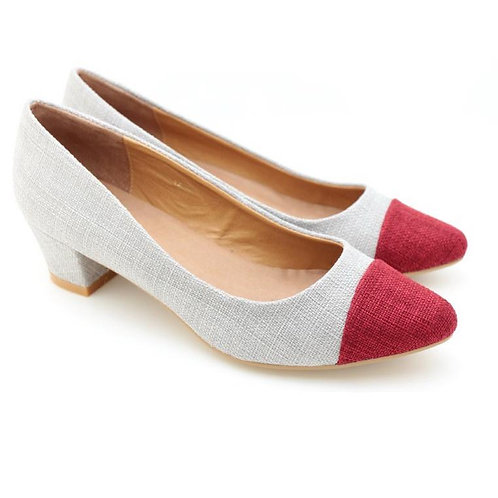 Two Tone Pointed Toe Pumps (D.Red)