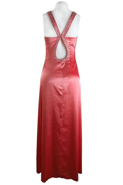 De Laru Keyhole Stretch Satin Dress with Beaded Straps