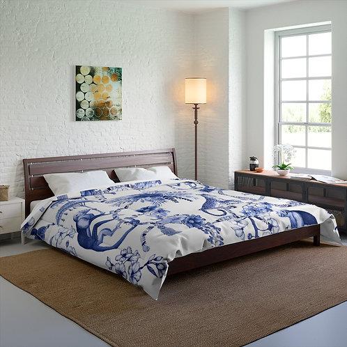 Blue Jungle Toile Comforter