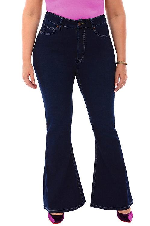 360 Stretch High Rise Flea Market Flare Jeans in Blue Depths