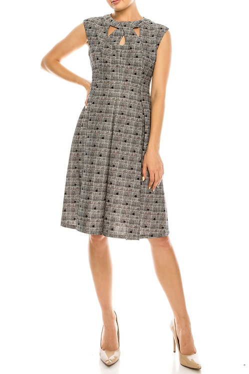 Gabby Skye Black White Red Polka Dotted Plaid Textured Dress