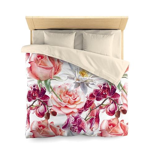 Blush Roses Bouquet Microfiber Duvet Cover