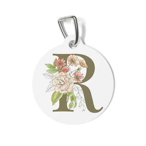 Personalized Floral Pet Tag - R