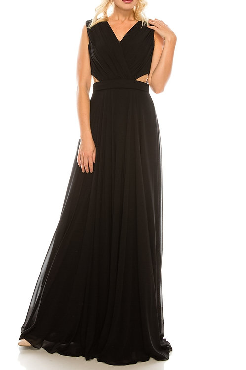 Odrella Black Surplice Necklined Full Skirt Gown with Mesh Inserts