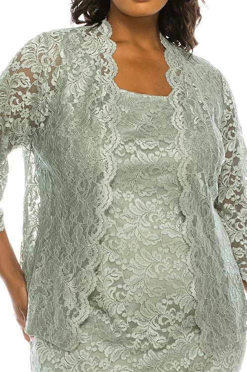 Alex Evenings Ice Sage Lace Jacket Dress (Plus Size)
