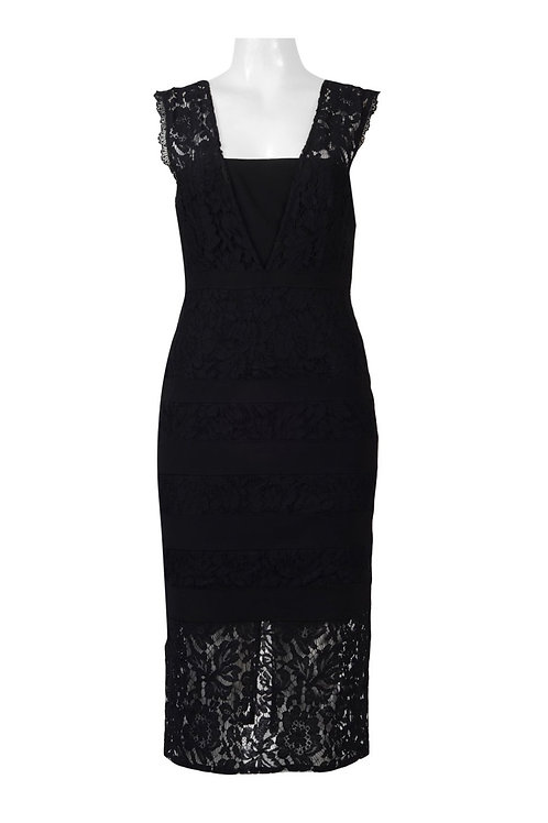 Adrianna Papell Square Neck Sleeveless Zipper Back Solid Lace Dress