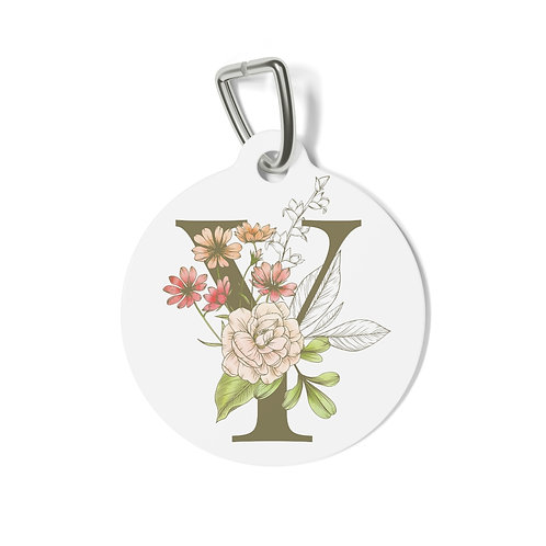 Personalized Floral Pet Tag - Y