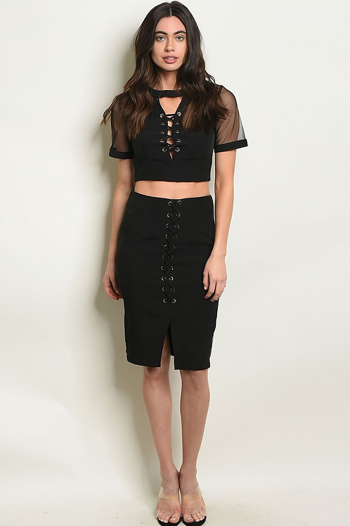 Womens Black Top & Skirt Set
