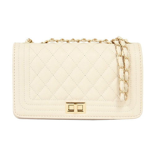 Ivory Rectangle Quilted Crossbody
