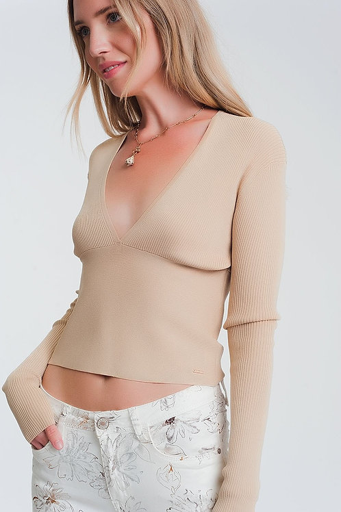 V Neck Ribbed Sweater in Beige