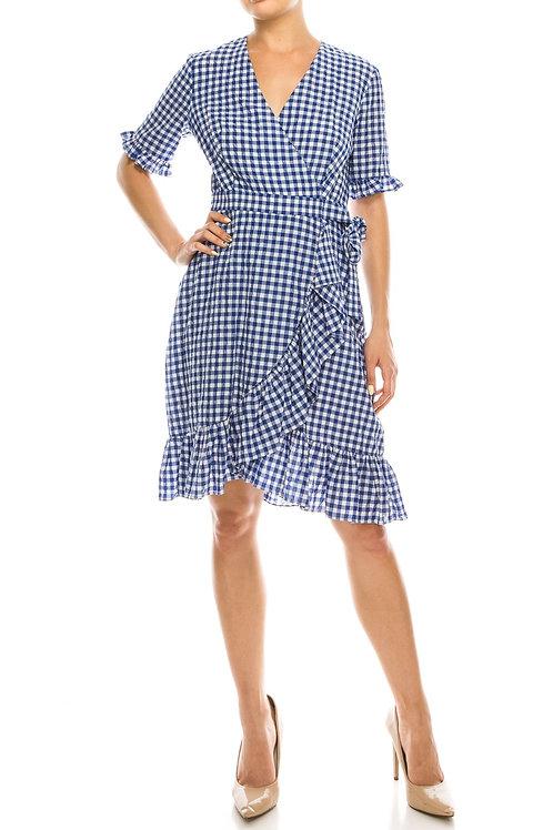 Maggy London Blue White Gingham Printed Ruffled Dress