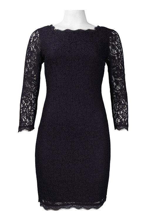 Adrianna Papell Long Sleeve Back Zipper Lace Sheath Dress (Petite)