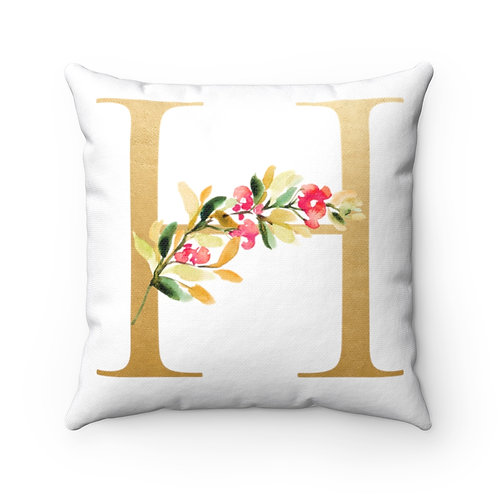 Gold H Spun Polyester Square Pillow