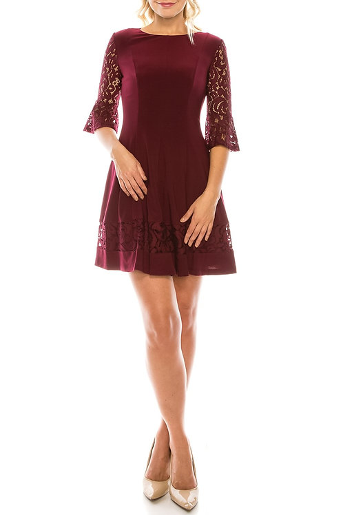 Jessica Howard Circle Skirt Dress with Embroidered Lace