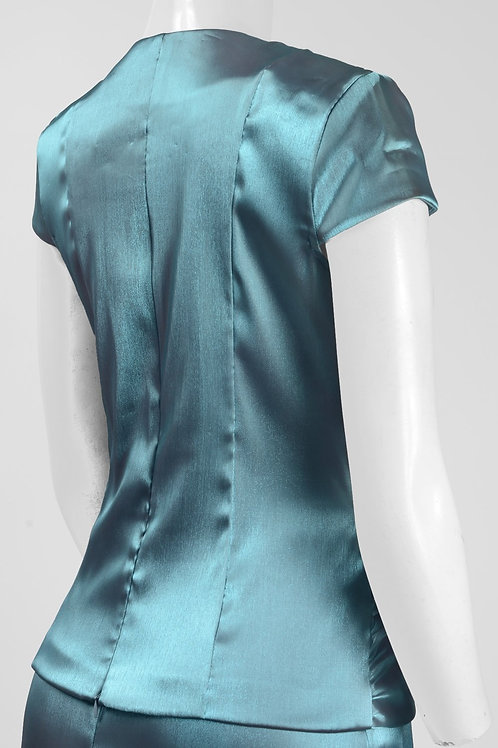 Cachet Queen Anne Neck Cap Sleeve Ruched Embellished Nylon Dress