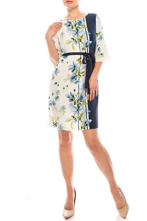 Gabby Skye Ivory Navy Floral Printed & Striped Dress